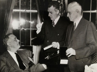 President Roosevelt, NL President Ford Frick, and Senators owner Clark Griffith 1942