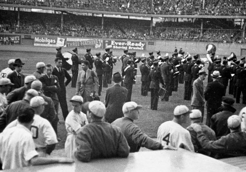 Brass band before first night game at Ebbets Field.