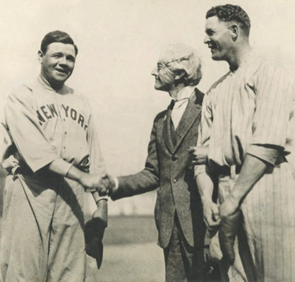Babe Ruth, Judge Kennesaw Landis, and Bob Meusel