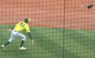 Pitcher throws glove at ball
