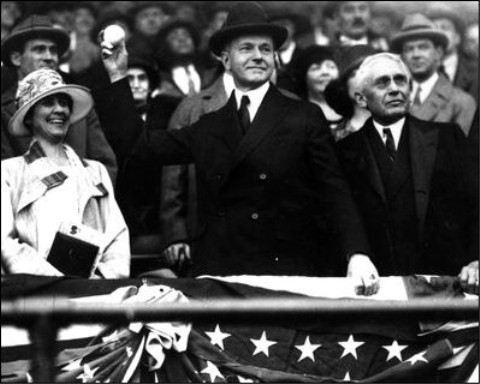 President Coolidge throws out first ball.