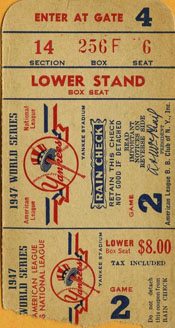 Yankee ticket for 1947 World Series
