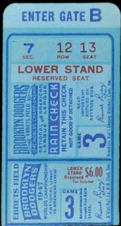 1947 World Series ticket - Ebbets Field