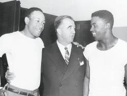 Dodgers' African-American players with the Commissioner