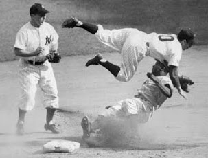 Jackie Robinson upends Phil Rizutto - Game 6 - 1