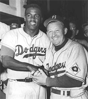 Jackie Robinson and Charlie Dressen