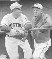 Boston P Tom Earley and Manager Casey Stengel