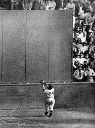Willie Mays Catching Long Drive in 1954 World Series
