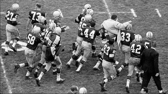 1959 Packers Carry Vince Lombardi off the field following opening victory over Bears