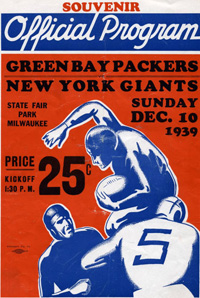 1939 NFL Championship Game Program Cover