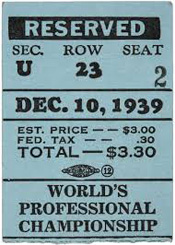 1939 Championship Game Ticket