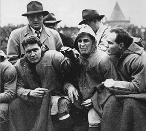 Sammy Baugh cries on sidelines after getting kicked in the head.
