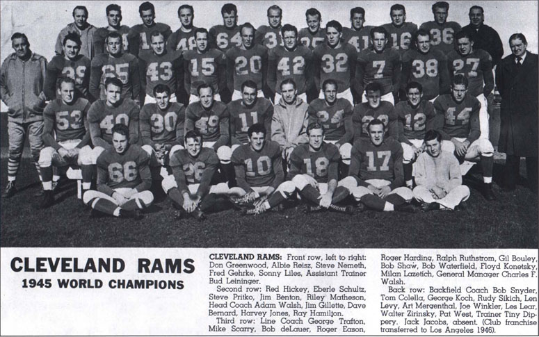 1945 NFL Champion Cleveland Rams