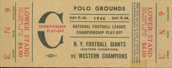 1946 Championship Game Ticket