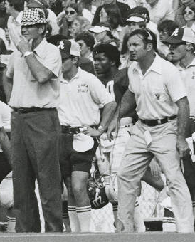 Bear Bryant and Pat Dye coaching at Alabama