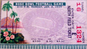 1939 Rose Bowl Ticket
