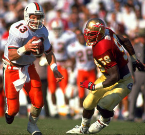 Gino Torretta runs against the Seminoles, 1991