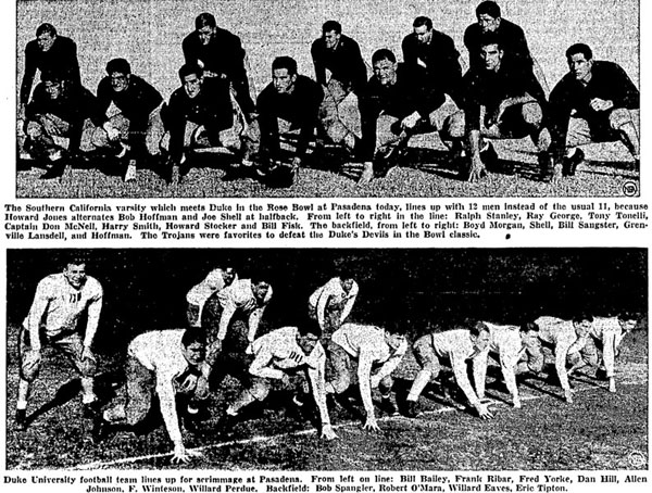 1939 Rose Bowl Starting Lineups