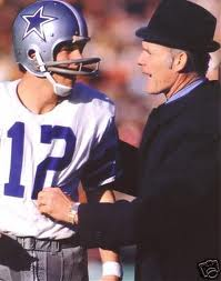 Dallas QB Roger Staubach and Coach Tom Landry