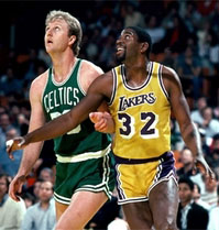Larry Bird, Celtics, and Magic Johnson, Lakers