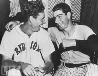 DiMaggio Rejoices with Ted after Game