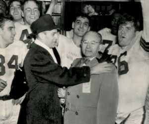 Paul Brown and Arthur McBride celebrate with their Browns.
