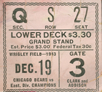 1943 NFL Championship Game Ticket
